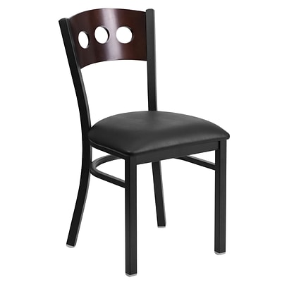 Flash Furniture Hercules 3-Circle Back Metal Restaurant Chair, Black w/Walnut Wood Back, Black Vinyl