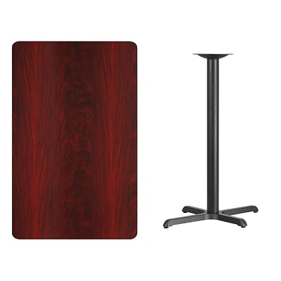 Flash Furniture 30x48 Rectangular Laminate Table Top, Mahogany w/22x30 Bar-Height Table Base
