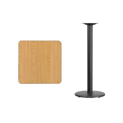 Flash Furniture 24 Square Laminate Table Top, Natural w/18 Round Bar-Height Table Base