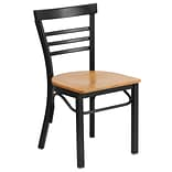 Ladderback Metal Restaurant ChairBlk w/Nat