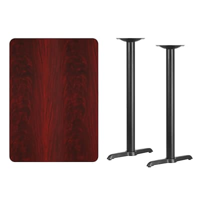 Flash Furniture 30x42 Rectangular Laminate Table Top, Mahogany w/5x22 Bar-Height Table Bases