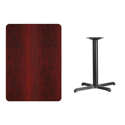Flash Furniture 30x42 Rectangular Laminate Table Top, Mahogany w/22x30 Table-Height Base