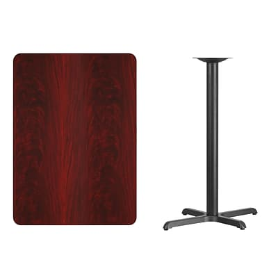 Flash Furniture 30x42 Rectangular Laminate Table Top, Mahogany w/22x30 Bar-Height Table Base