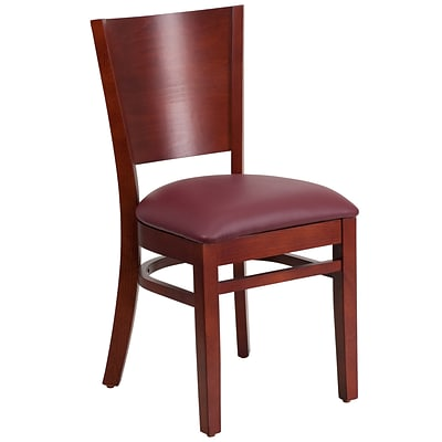 Flash Furniture Lacey Series Solid Back Restaurant Chair, Mahogany Wood Finish, Burgundy Seat, 2bx