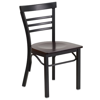 Flash Furniture Hercules Series Ladderback Metal Restaurant Chair, Black w/Walnut Wood (XUDG6Q6B1LADWAW)