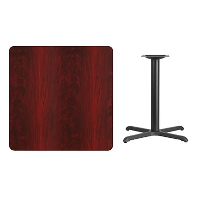 Flash Furniture 36 Square Laminate Table Top, Mahogany w/30x30 Table-Height Base XUMA3636T3030