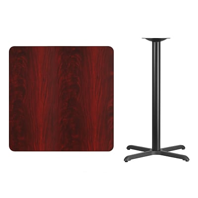 Flash Furniture 36 Square Laminate Table Top, Mahogany w/30x30 Bar-Height Table Base