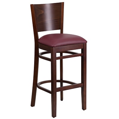 Flash Furniture 31.5 Lacey Series Solid Back Restaurant Barstool, Burgundy Seat, Walnut Finish, 2bx