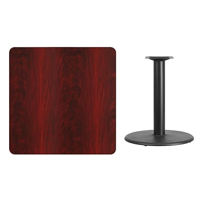 Flash Furniture 36 Square Laminate Table Top, Mahogany w/24 Round Table-Height Base XUMA3636TR24