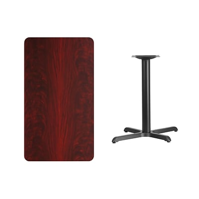 Flash Furniture 24x42 Rectangular Laminate Table Top, Mahogany w/22x30 Table-Height Base