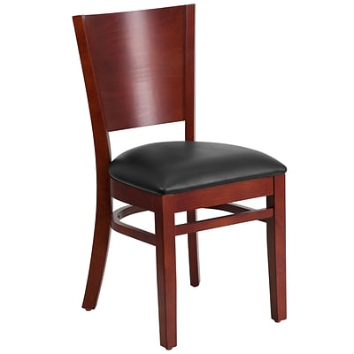 Flash Furniture Lacey Series Solid Back Restaurant Chair, Blk Seat, Mahogany Wood Frame Finish, 2bx