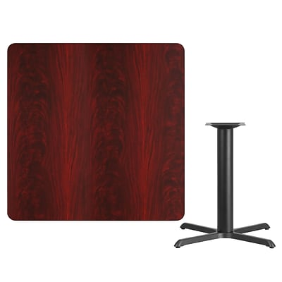 Flash Furniture 42 Square Laminate Table Top, Mahogany w/33x33 Table-Height Base XUMA4242T3333