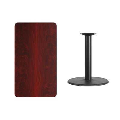 Flash Furniture 24x42 Rectangular Laminate Table Top, Mahogany w/24 Round Table-Height Base