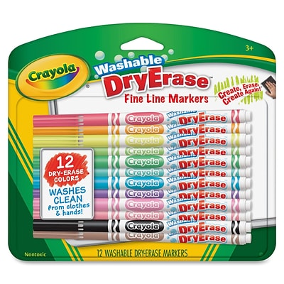 Crayola Fine Line Washable Dry Erase Markers, Bullet Marker Point Style, Assorted Ink, 12 / Pack