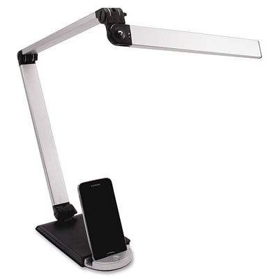 Ledu Triple Hinge USB Desk Lamp, 8W LED Bulb, USB Charge, Adj Brightness, 500Lumen, Desk Mount, Slvr