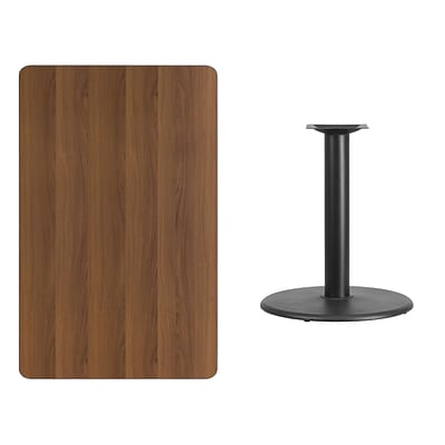 Flash Furniture 30x48 Rectangular Laminate Table Top, Walnut w/24 Round Table-Height Base