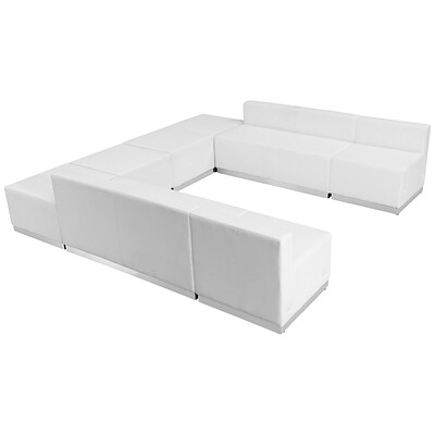 Flash Furniture  Hercules Alon Series Leather Reception Configuration, White, 8 Pieces (ZB803710SWH)