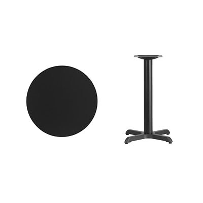 Flash Furniture 24 Round Laminate Table Top, Black, 22 x 22 Table Height Base (XURD24BKT2222)