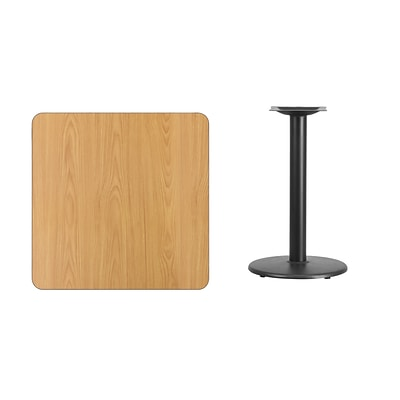 Flash Furniture 30 Square Laminate Table Top, Natural w/18 Round Table-Height Base XUNT3030TR18