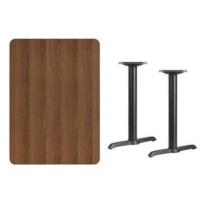 Flash Furniture 30x42 Rectangular Laminate Table Top, Walnut w/5x22 Table-Height Bases