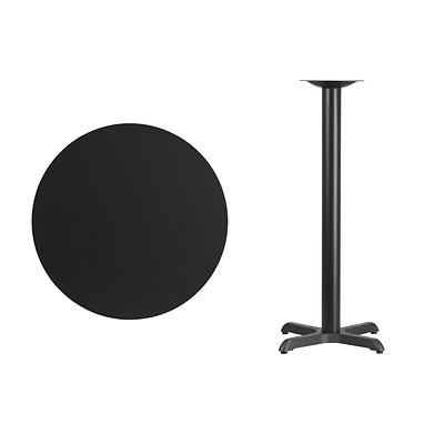 Flash Furniture 30 Round Laminate Table Top w/22x22 Bar-Height Table Base, Blk