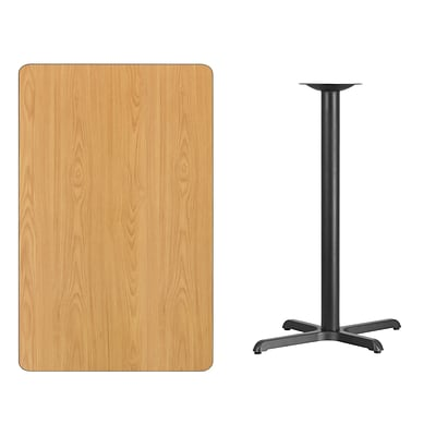 Flash Furniture 30x48 Rectangular Laminate Table Top, Natural w/22x30 Bar-Height Table Base