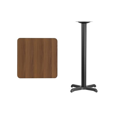 Flash Furniture 24 Square Laminate Table Top, Walnut w/22x22 Bar-Height Table Base