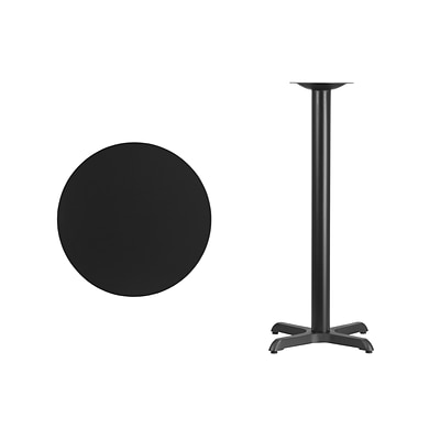 Flash Furniture 24 Round Laminate Table Top, Blk w/22x22 Bar-Height Table Base