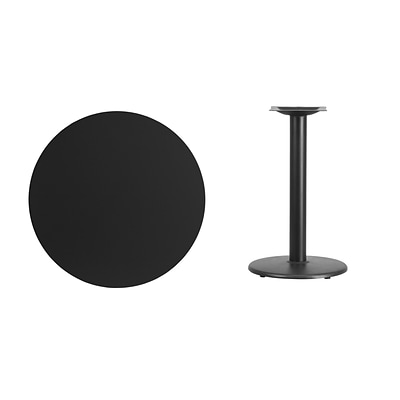 Flash Furniture 30 Round Laminate Table Top, Black w/18 Round Table-Height Base (XURD30BKTR18)