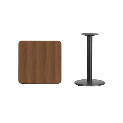 Flash Furniture 24 Square Walnut Laminate Table Top w/18 Round Table Height Base, Black Finish