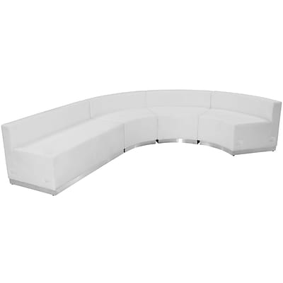 Flash Furniture  Hercules Alon Series Leather Reception Configuration, White, 4 Pieces (ZB803760SWH)