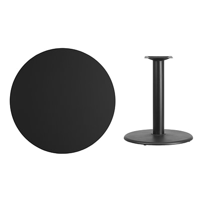Flash Furniture 36 Round Laminate Table Top, Black w/24 Round Table-Height Base (XURD36BKTR24)