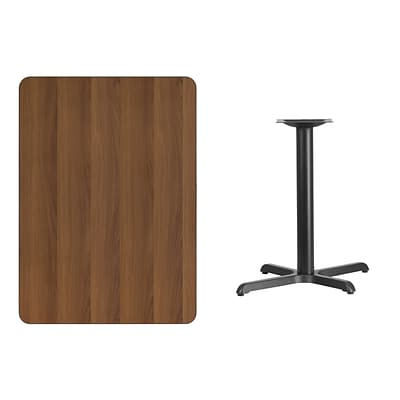 Flash Furniture 30x42 Rectangular Laminate Table Top, Walnut w/22x30 Table-Height Base