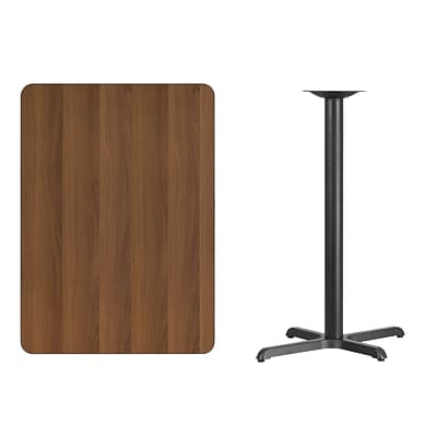 Flash Furniture 30x42 Rectangular Laminate Table Top, Walnut w/22x30 Bar-Height Table Base