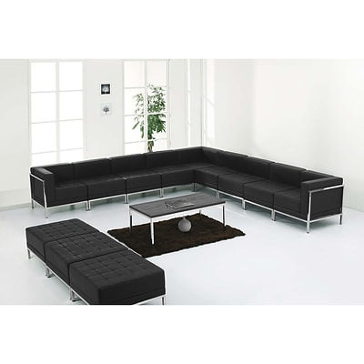 Flash Furniture Hercules Imagination Series Leather Sectional and Ottoman Set, Black,
