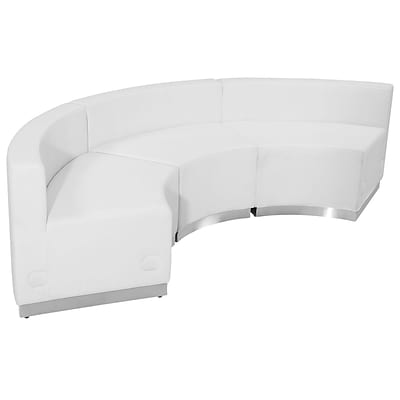 Flash Furniture Hercules Alon Series Leather Reception Configuration in White, 3 Pieces ZB803740SWH