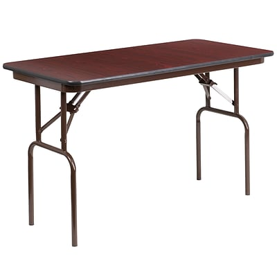 Flash Furniture 24x48 Rectangular Melamine Laminate Folding Banquet Table, Mahogany YT2448MELWAL