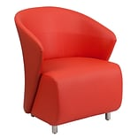 Leather Reception Chair; Red (ZB6RD)