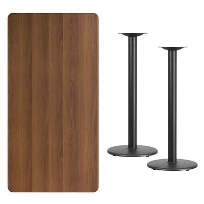 Flash Furniture 30x60 Rectangular Laminate Table Top, Walnut w/18 Round Bar-Height Table Bases