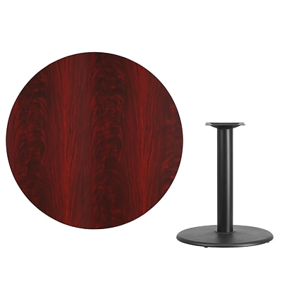 Flash Furniture 42 Round Laminate Table Top, Mahogany w/24 Round Table-Height Base XURD42MATR24