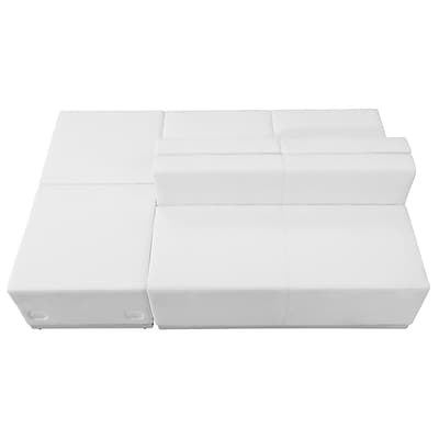 Flash Furniture  Hercules Alon Series Leather Reception Configuration, 4 Pieces, White (ZB803880SWH)