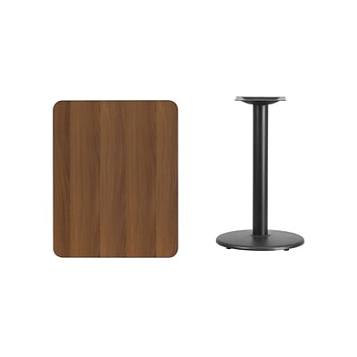 Flash Furniture 24x30 Rectangular Laminate Table Top, Walnut w/18 Round Table-Height Base