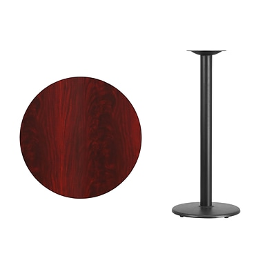 Flash Furniture 30 Round Mahogany Laminate Table Top w/18 Round Bar Height Table Base, Black