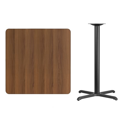 Flash Furniture 36 Square Walnut Laminate Table Top w/30x30 Bar Height Table Base, Black