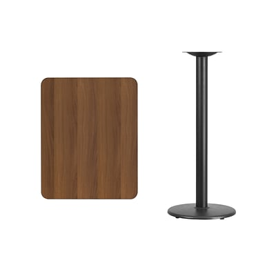 Flash Furniture 24x30 Rectangular Laminate Table Top, Walnut w/18 Round Bar-Height Table Base