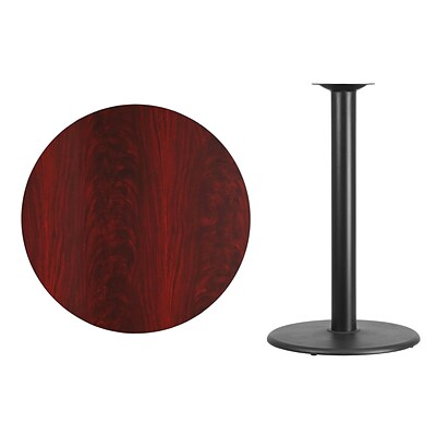 Flash Furniture 36 Round Laminate Table Top, Mahogany w/24 Round Bar-Height Table Base