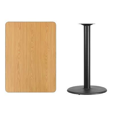 Flash Furniture 30x42 Rectangular Laminate Table Top, Natural w/24 Round Bar-Height Table Base