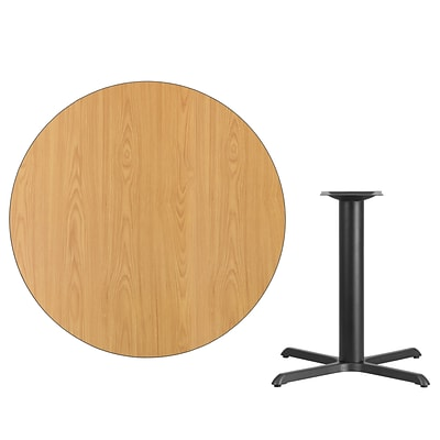 Flash Furniture 42 Round Laminate Table Top, Natural w/33x33 Table-Height Base (XURD42NTT3333)