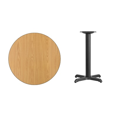 Flash Furniture 30L Round Table with 22W Table Height Base, Natural Laminate (XURD30NTT2222)