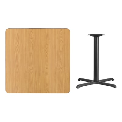 Flash Furniture 36 Square Laminate Table Top, Natural w/30x30 Table-Height Base XUNT3636T3030